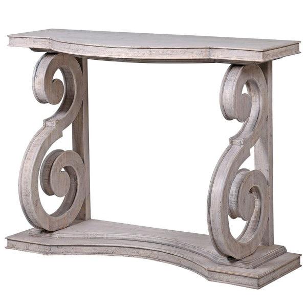 Carved swirl console